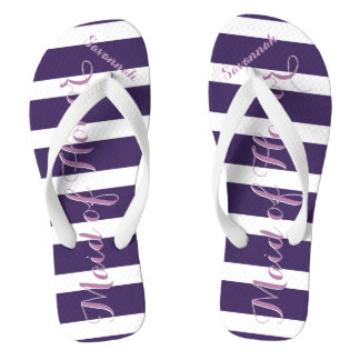 Personalized Maid of Honor Purple or Any Color Flip Flops