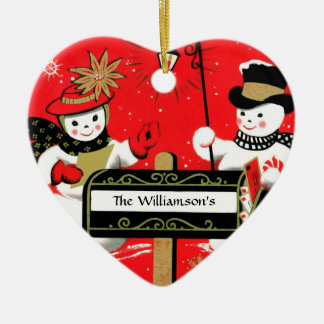 Personalized Mailbox Snowman Couple Christmas Ornament