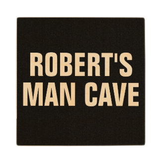 PERSONALIZED MAN CAVE WOODEN COASTER WOOD COASTER