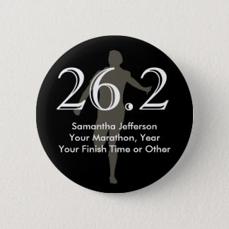 Personalized Marathon Runner 26.2 Keepsake Black 6 Cm Round Badge