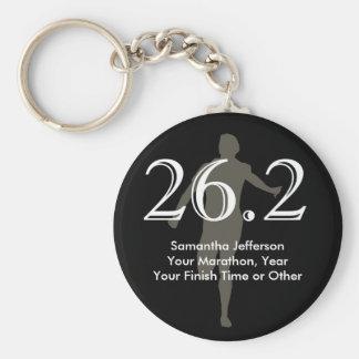 Personalized Marathon Runner 26.2 Keepsake Black Basic Round Button Key Ring