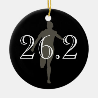 Personalized Marathon Runner 26.2 Keepsake Black Double-Sided Ceramic Round Christmas Ornament
