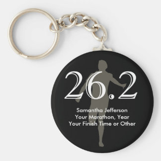 Personalized Marathon Runner 26.2 Keepsake Black Key Ring