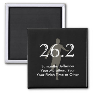 Personalized Marathon Runner 26.2 Keepsake Black Magnet