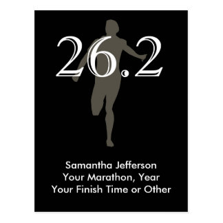 Personalized Marathon Runner 26.2 Keepsake Black Postcard