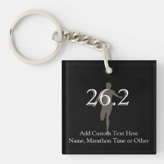 Personalized Marathon Runner 26.2 Keepsake Square Acrylic Key Chain