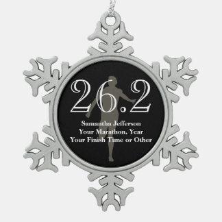 Personalized Marathon Runner 26.2 Keepsake Medal Snowflake Pewter Christmas Ornament