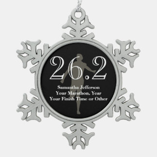 Personalized Marathon Runner 26.2 Keepsake Medal Snowflake Pewter Christmas Ornament