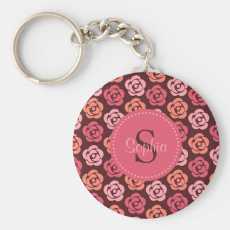 Personalized Maroon and Pink Floral Monogram Key Ring