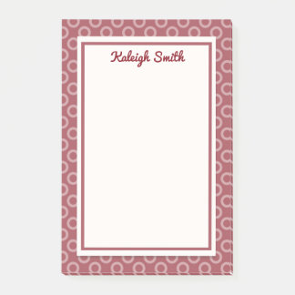 Personalized Maroon Polka Dots Post It Notes