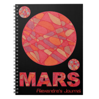 Personalized Mars Red Planet Space Geek Journal Note Book