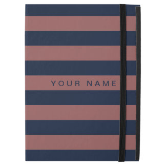"Personalized Marsala & Navy Blue Striped iPad Pro 12.9"" Case"