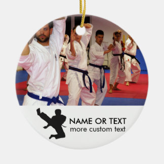Personalized Martial Arts Karate Photo Christmas Round Ceramic Decoration