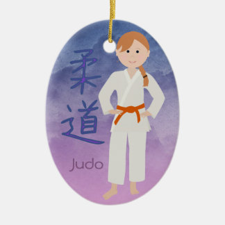 Personalized Martial Arts Redhead Orange Belt Christmas Ornament