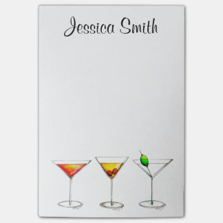 Personalized Martini Cosmo Cocktails Post It Post-it Notes