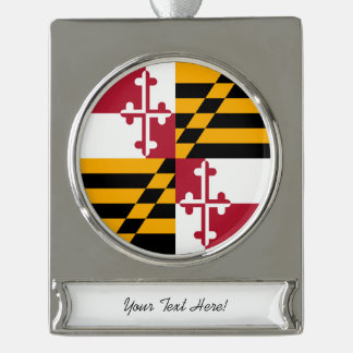 Personalized Maryland State Flag Design Silver Plated Banner Ornament