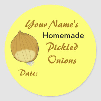 Personalized Mason Jar Lid Labels Pickled Onions Classic Round Sticker