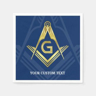 Personalized Masonic Napkins | Navy Blue Gold Disposable Serviette