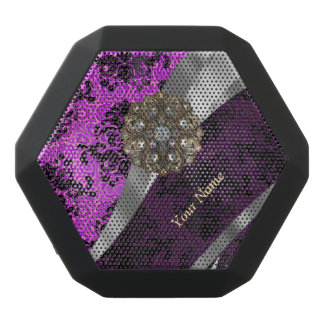 Personalized mauve purple vintage damask black bluetooth speaker