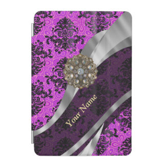 Personalized mauve purple vintage damask iPad mini cover