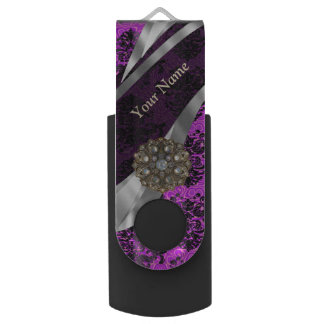 Personalized mauve purple vintage damask USB flash drive