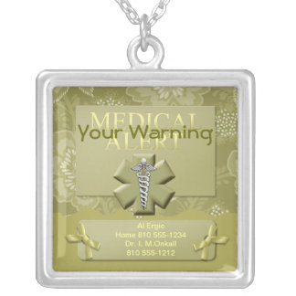 Personalized Medical Alert Silver Plated Necklace