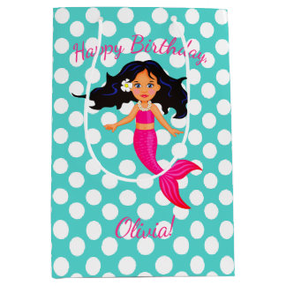 Personalized Mermaid and Polka Dot Gift Bag
