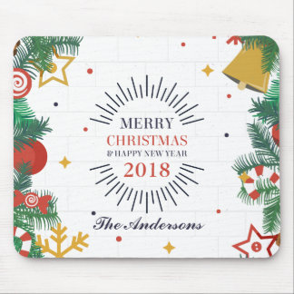 Personalized Merry Christmas and New Year Mousepad