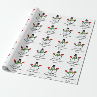 Personalized Merry Christmas cute white snowman Wrapping Paper