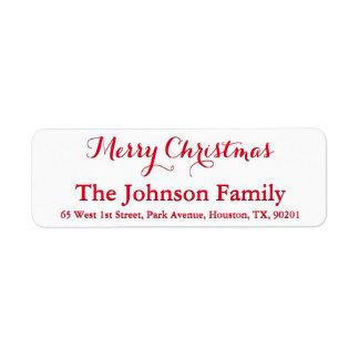 Personalized Merry Christmas Elegant Red Script Return Address Label