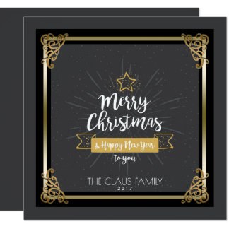 Personalized Merry Christmas Happy New Year Card