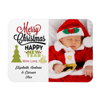 Personalized Merry Christmas Happy New Year Photo Magnet
