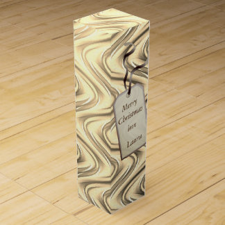 Personalized Merry Christmas modern Gold Wine Bottle Box