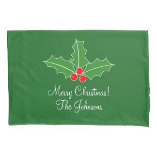Personalized Merry Christmas pillowcase for bed