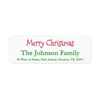 Personalized Merry Christmas Return Address Label