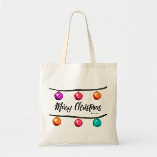 Personalized, Merry Christmas script Watercolor Tote Bag