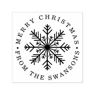 Personalized Merry Christmas Snowflake Self-inking Stamp
