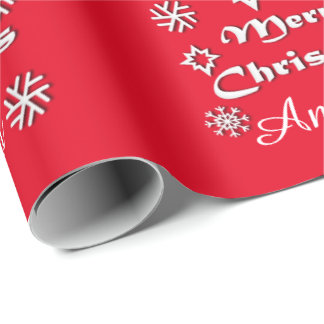 Personalized Merry Christmas Theme with Name Wrapping Paper