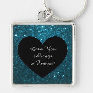 Personalized Message Blue Glitz Monogram Silver-Colored Square Key Ring