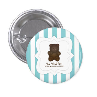 Personalized Message Teddy Bear Button