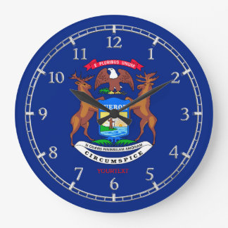 Personalized Michigan State Flag Design on Large Clock