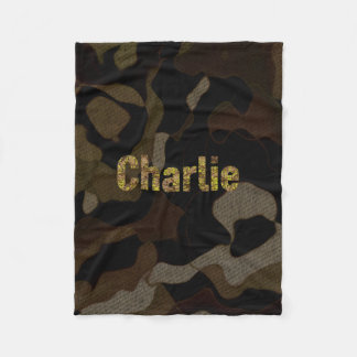 Personalized Military Camouflage Font Charlie Fleece Blanket