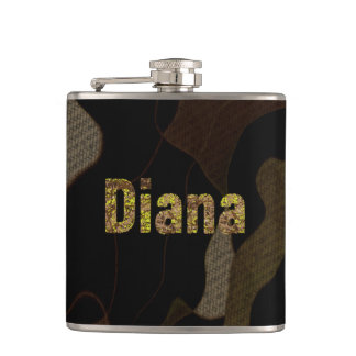 Personalized Military Camouflage Font Diana Hip Flask