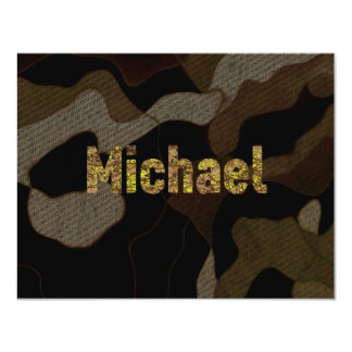 """Personalized Military Camouflage Font Michael 4.25"""" X 5.5"""" Invitation Card"""