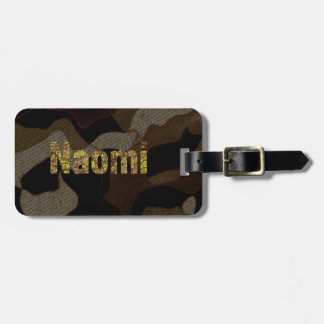 Personalized Military Camouflage Font Naomi Luggage Tag