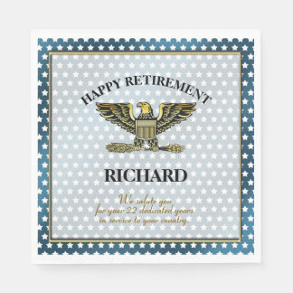 Personalized Military Retirement Party Paper Napkins