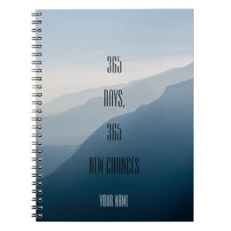 Personalized| minimalist| 365 days 365 new chances spiral note books