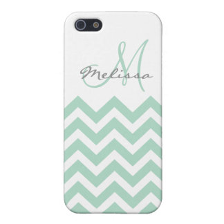 Personalized Mint Blue Chevron iPhone 5 Cases
