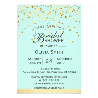 Personalized Mint Green Gold Bridal Shower Invites