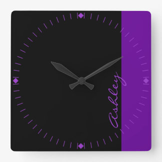 Personalized Modern 519 Purple Square Wall Clock
